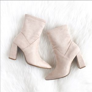 NWT Light bone suedette ankle boot